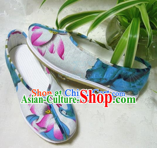 Chinese Traditional Hanfu Shoes Printing Lotus Shoes Handmade Cloth Shoes for Women