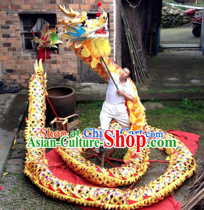 Chinese Folk Dance Dragon Dance Competition Golden Dragon Head Traditional Dragon Dance Costumes Complete Set for Adult