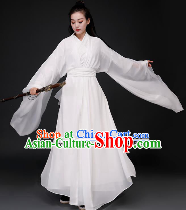 Chinese Ancient Drama Peri Goddess White Dress Traditional Jin Dynasty Swordswoman Costumes for Women