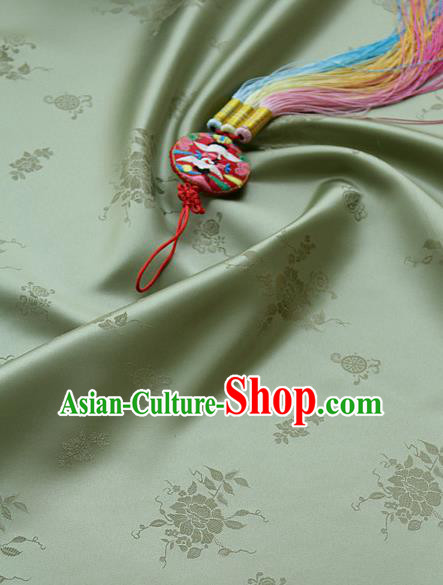 Traditional Asian Classical Peony Pattern Cloth Drapery Green Brocade Korean Hanbok Palace Satin Silk Fabric
