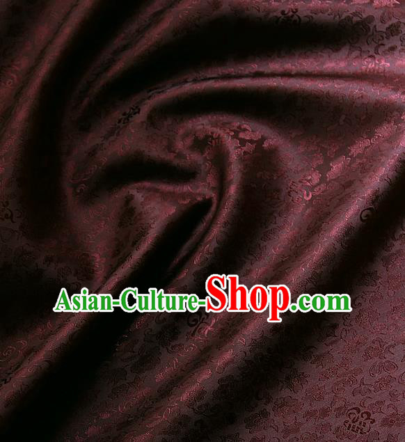 Traditional Asian Classical Pattern Cloth Drapery Dark Red Brocade Korean Hanbok Palace Satin Silk Fabric