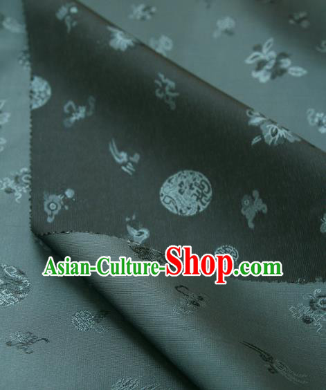 Traditional Asian Classical Flowers Pattern Cloth Drapery Navy Blue Brocade Korean Hanbok Palace Satin Silk Fabric