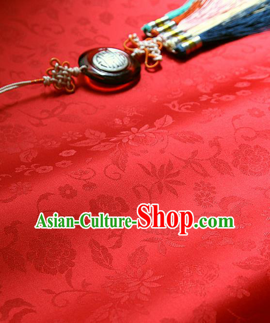 Traditional Asian Classical Flowers Pattern Cloth Drapery Red Brocade Korean Hanbok Palace Satin Silk Fabric