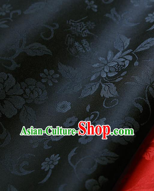 Traditional Asian Classical Flowers Pattern Cloth Drapery Black Brocade Korean Hanbok Palace Satin Silk Fabric