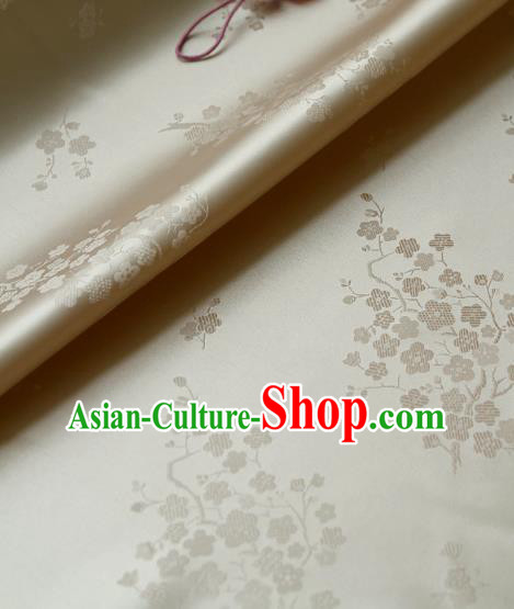Traditional Asian Classical Wintersweet Pattern Cloth Drapery White Brocade Korean Hanbok Palace Satin Silk Fabric