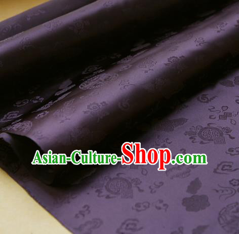 Traditional Asian Classical Pattern Cloth Drapery Purple Brocade Korean Hanbok Palace Satin Silk Fabric
