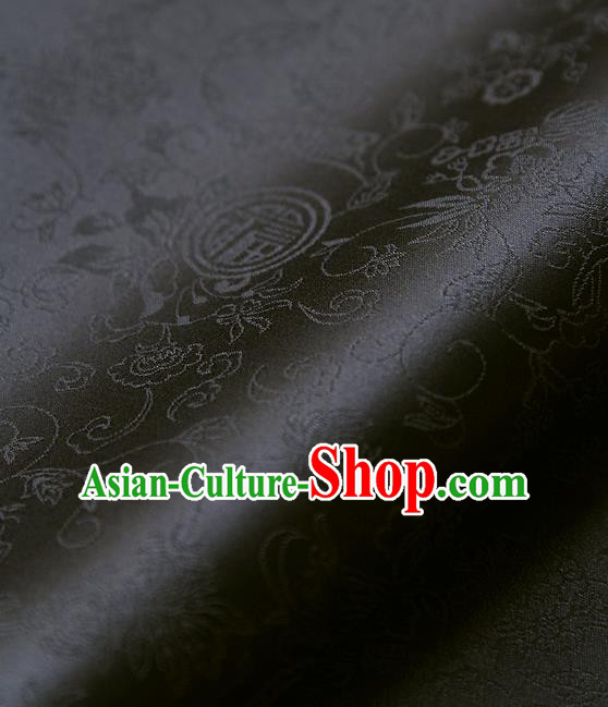Traditional Asian Classical Pattern Black Brocade Cloth Drapery Korean Hanbok Palace Satin Silk Fabric