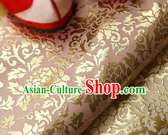 Traditional Asian Classical Gilding Pattern Pink Brocade Cloth Drapery Korean Hanbok Palace Satin Silk Fabric