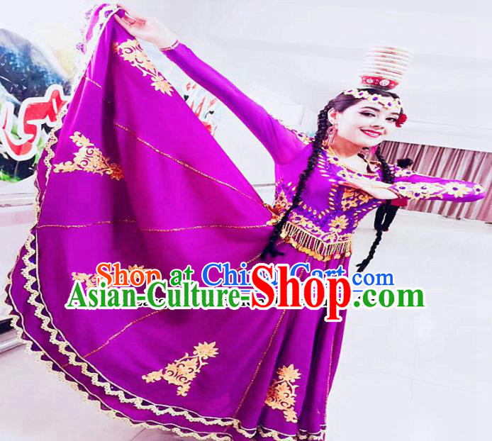 Chinese Ethnic Costumes Folk Dance Purple Dress Traditional National Uyghur Nationality Clothing for Women