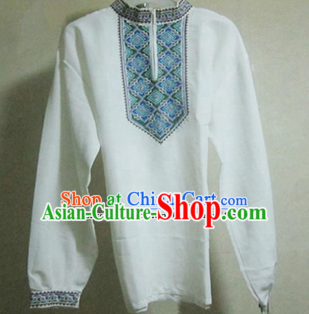 Chinese Ethnic Costumes Folk Dance White Shirt Traditional National Uyghur Nationality Clothing for Men