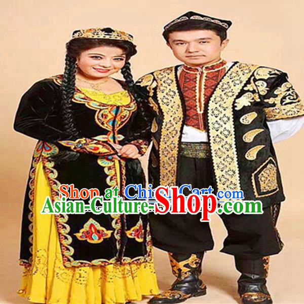 Chinese Ethnic Minority Folk Dance Embroidered Dress Traditional Uyghur Nationality Bride and Bridegroom Costumes