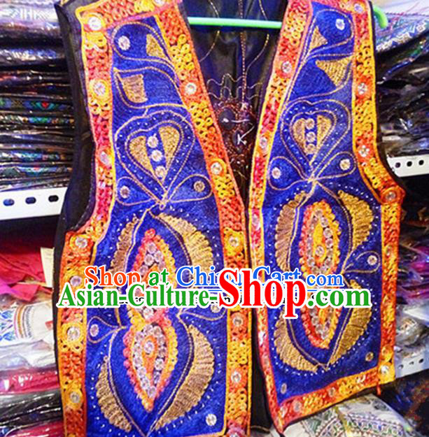 Chinese Ethnic Minority Folk Dance Embroidered Royalblue Vest Traditional Uyghur Nationality Costume for Women