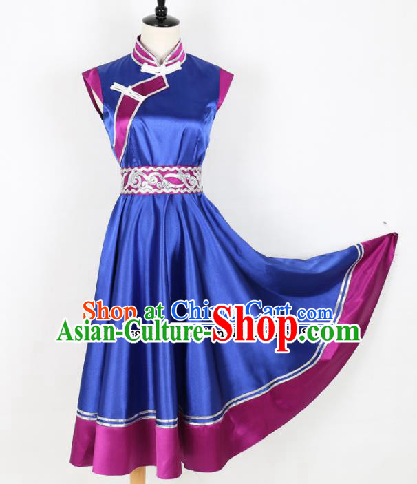 Chinese Mongolian Ethnic Minority Blue Dress Traditional Mongol Nationality Folk Dance Costume for Women