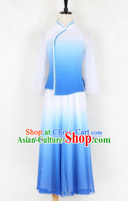 Chinese Traditional Yanko Dance Folk Dance Blue Clothing Classical Dance Costume for Women