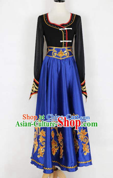 Chinese Mongolian Ethnic Minority Blue Dress Traditional Nationality Folk Dance Costume for Women
