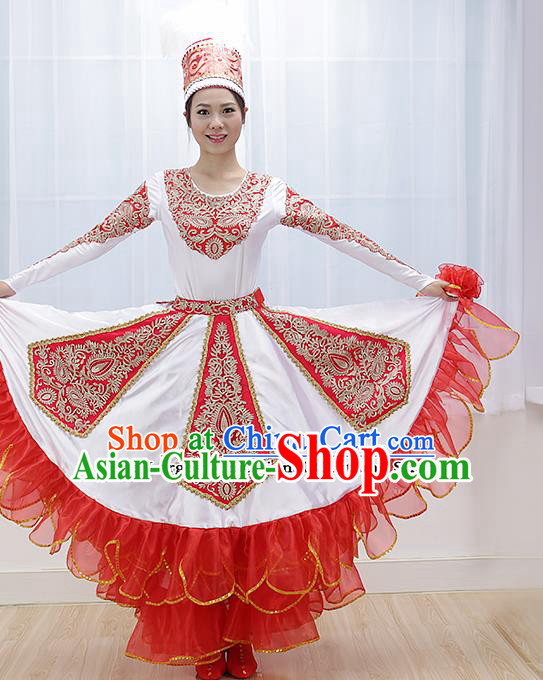 Chinese Kazakhs Ethnic Minority Dress Traditional Kazak Nationality Folk Dance Costume for Women