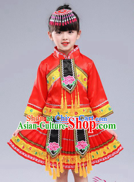 Chinese Traditional Miao Nationality Folk Dance Red Pleated Skirt Ethnic Dance Embroidered Costumes for Kids