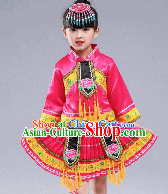 Chinese Traditional Miao Nationality Folk Dance Pink Pleated Skirt Ethnic Dance Embroidered Costumes for Kids