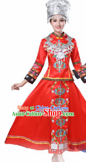 Chinese Hmong Ethnic Minority Red Dress Traditional Dong Nationality Folk Dance Costumes for Women