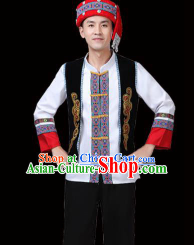 Chinese Traditional Miao Nationality Folk Dance Clothing Ethnic Dance Embroidered White Costumes for Men