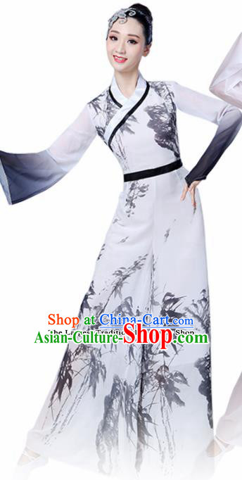 Chinese Traditional Folk Dance White Costumes Classical Dance Yanko Dance Clothing for Women