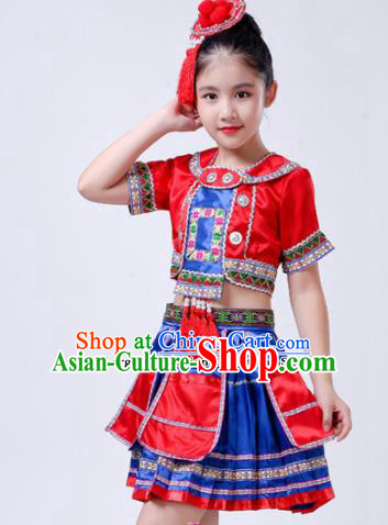 Chinese Traditional Yao Nationality Folk Dance Red Dress Ethnic Dance Costumes for Kids