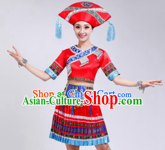 Chinese Zhuang Ethnic Minority Red Embroidered Dress Traditional Nationality Folk Dance Costumes for Women
