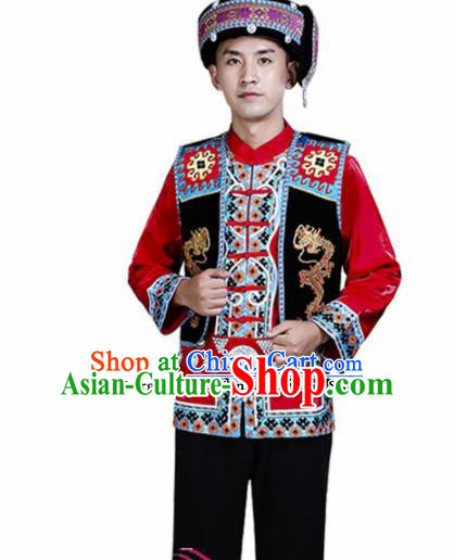 Chinese Traditional Yi Nationality Folk Dance Clothing Ethnic Dance Costumes for Men