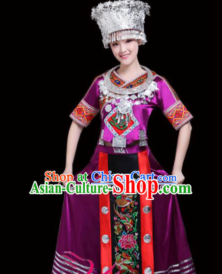 Chinese Miao Ethnic Minority Purple Embroidered Dress Traditional Nationality Folk Dance Costumes for Women