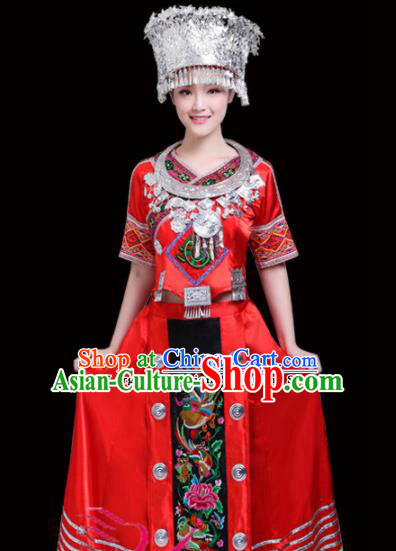 Chinese Miao Ethnic Minority Red Embroidered Dress Traditional Nationality Folk Dance Costumes for Women