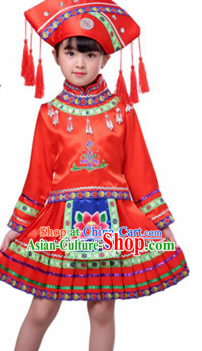 Chinese Traditional Zhuang Minority Folk Dance Clothing Ethnic Dance Red Costumes for Kids