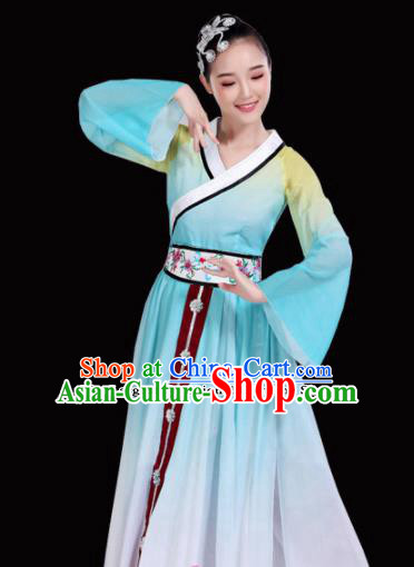 Chinese Traditional Folk Dance Costumes Classical Dance Blue Dress for Women