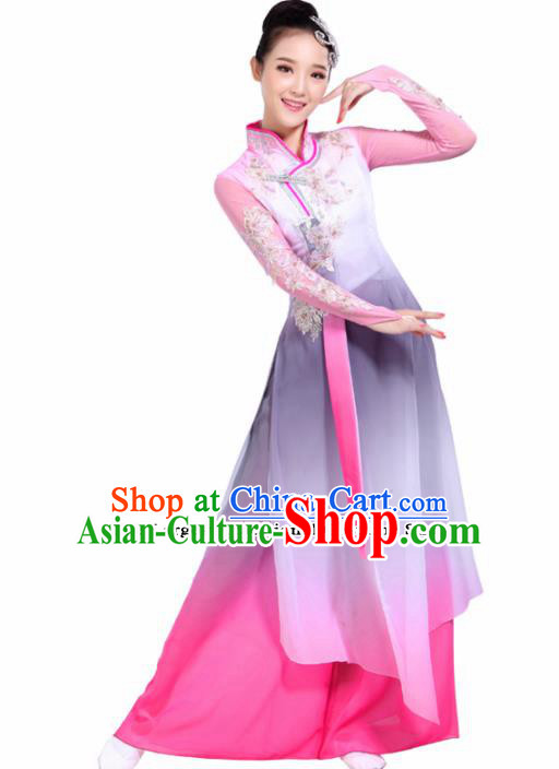 Chinese Traditional Folk Dance Costumes Classical Dance Pink Dress for Women