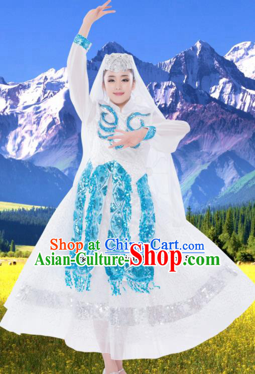 Chinese Traditional Hui Minority White Dress Ethnic Folk Dance Costumes for Women