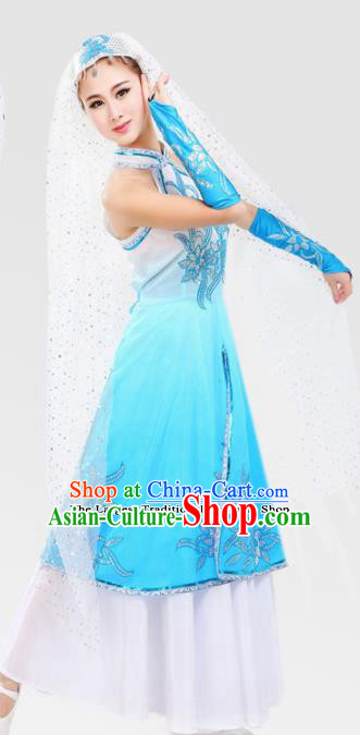 Chinese Traditional Hui Minority Blue Dress Ethnic Folk Dance Costumes for Women