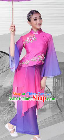 Chinese Traditional Folk Dance Rosy Dress Classical Dance Umbrella Dance Costumes for Women