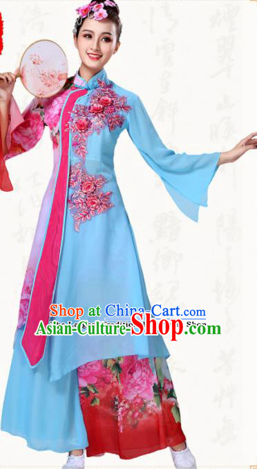 Chinese Traditional Classical Dance Group Dance Blue Dress Umbrella Dance Costumes for Women