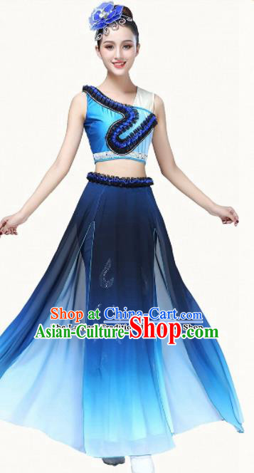 Chinese Traditional Classical Dance Blue Dress Group Dance Umbrella Dance Costumes for Women