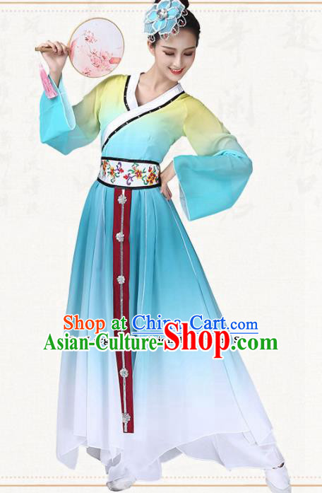 Chinese Traditional Classical Dance Blue Dress Umbrella Dance Group Dance Costumes for Women