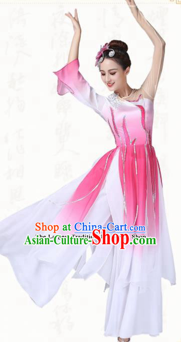 Chinese Traditional Folk Dance Yanko Dance Pink Dress Umbrella Dance Group Dance Costumes for Women