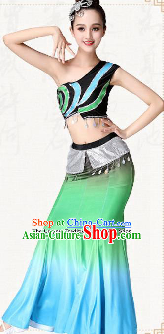 Chinese Traditional Dai Minority Peacock Dance Dress Ethnic Folk Dance Pavane Costumes for Women