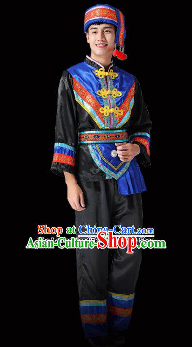 Chinese Traditional Miao Minority Folk Dance Black Clothing Ethnic Dance Costumes for Men