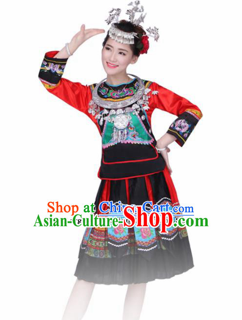 Chinese Ethnic Minority Embroidered Dress Traditional Miao Nationality Folk Dance Costumes for Women