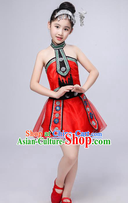 Chinese Traditional Dong Minority Folk Dance Clothing Ethnic Dance Red Dress for Kids