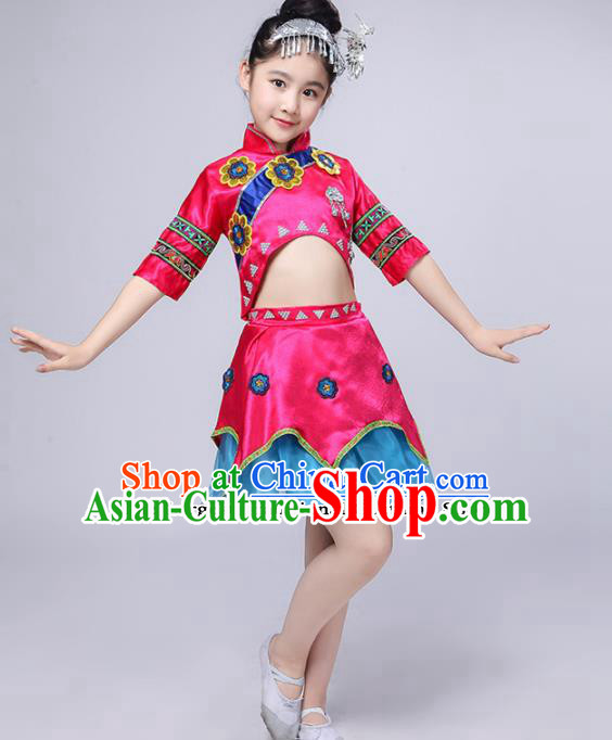 Chinese Traditional Dong Minority Folk Dance Clothing Ethnic Dance Pink Dress for Kids
