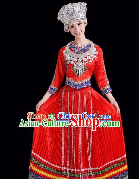 Chinese Miao Ethnic Minority Embroidered Red Dress Traditional Hmong Nationality Folk Dance Costumes for Women