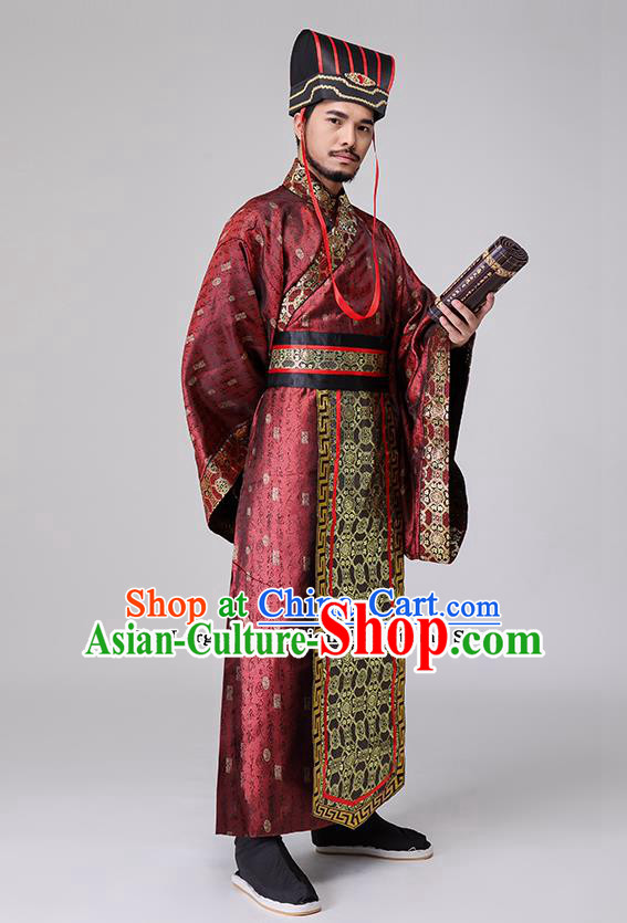 Traditional Chinese Han Dynasty Costumes Ancient Drama Chancellor Clothing for Men