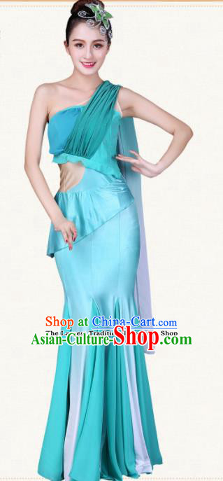 Chinese Traditional Dai Nationality Peacock Dance Blue Dress Ethnic Pavane Folk Dance Costumes for Women