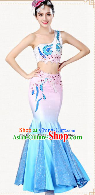 Traditional Chinese Dai Nationality Dress Ethnic Peacock Dance Folk Dance Costumes for Women