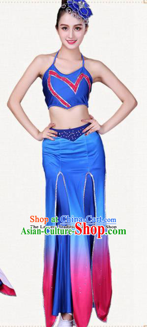 Traditional Chinese Dai Nationality Blue Dress Ethnic Peacock Dance Folk Dance Costumes for Women